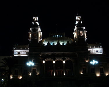 Rear view of the casino at night